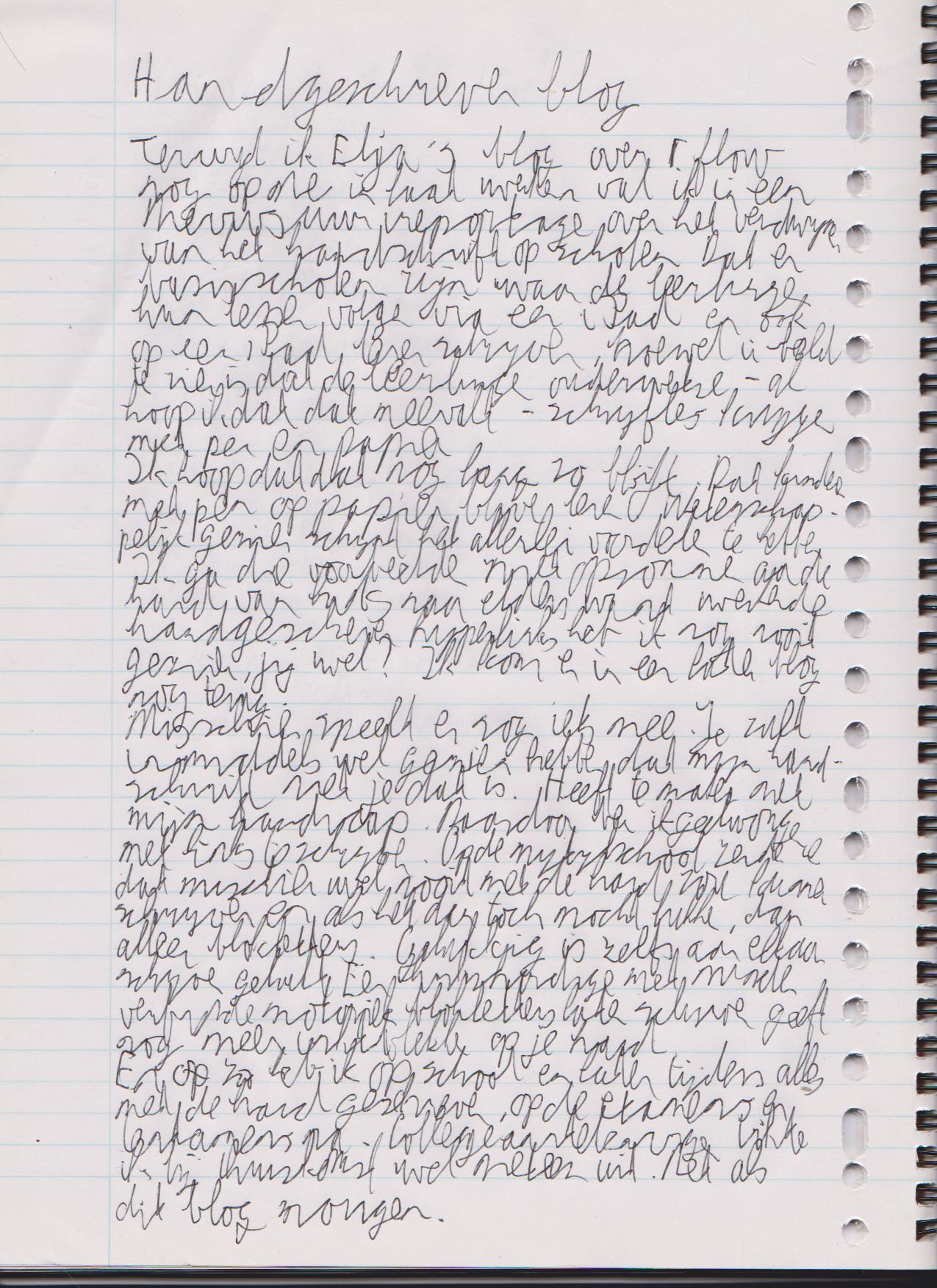 handgeschreven blog